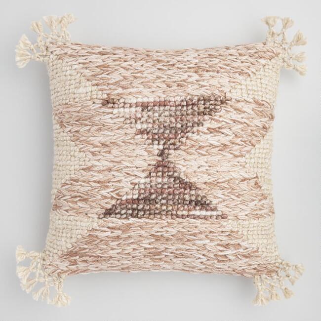 Neutral Desert Triangle Indoor Outdoor Throw Pillow