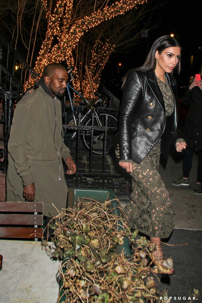 "Kim Kardashian and Kanye West had a very stylish dinner in NYC on Tuesday night; the couple was spotted leaving the Waverly Inn with none other than Anna Wintour. Kim likely met up with her fiancé and the Vogue editor in chief after her stop at Late Night With Seth Meyers. During the interview, Kim spilled details on the ""top secret"" photo shoot that landed her and Kanye the April cover along with their 9-month-old daughter, North West, who was featured inside the issue.  Kim and Kanye's Vogue debut sparked a lot of debate, especially from the fashion community. Celebrities like Sarah Michelle Gellar and Naomi Campbell are the latest to share their reactions. Anna addressed the backlash and defended her decision in the April editor's letter, saying, ""My opinion is that it is both charming and touching."" Keep reading for more photos of Kim and Kanye's dinner date with Anna."