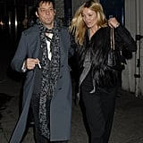 Jamie Hince and Kate Moss bundled up against a cold London night.