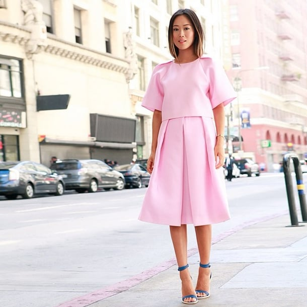 Aimee Song's pastel Tibi look feels complete as is. But add cobalt strappy sandals, and you've just added an extra element of surprise. Source: Instagram user songofstyle