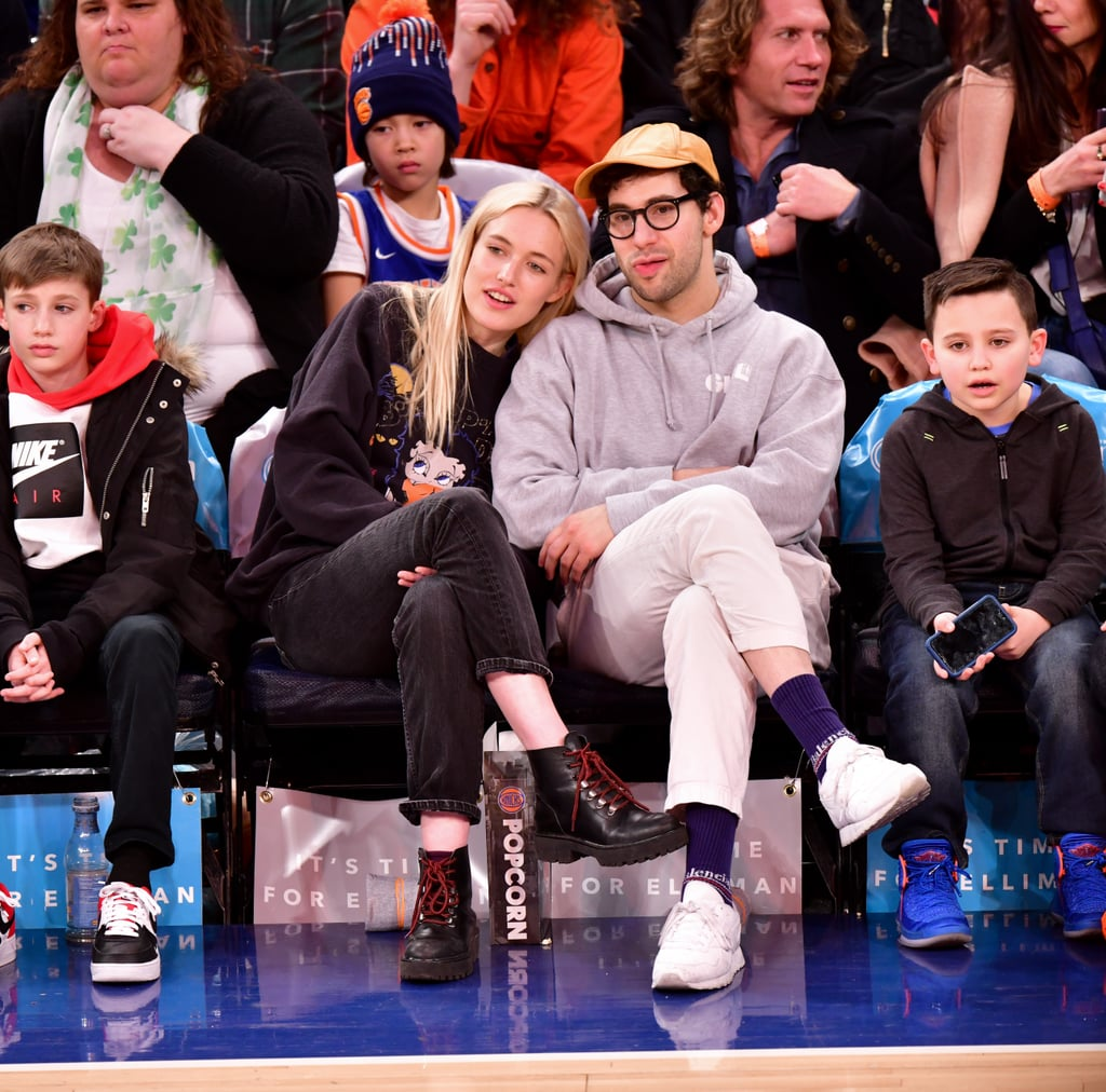 Is Jack Antonoff officially off the market again? That's the question that arose when the record producer was spotted sitting court side with model Carlotta Kohl at the Knicks game in NYC on Saturday night. While the home team ended up defeating the Charlotte Hornets 124 to 101, all eyes were truly on Jack and Carlotta as she laid her head on his shoulder and sat close by. According to Us Weekly, the two have been dating since January, but it hasn't been confirmed by either party. Recently, Jack was rumored to be dating his musical pal, Lorde, after splitting from Lena Duhman earlier this year. As it turns out, Jack and Lorde are just friends. Read on to see more photos of Jack and Carlotta's cozy night out.