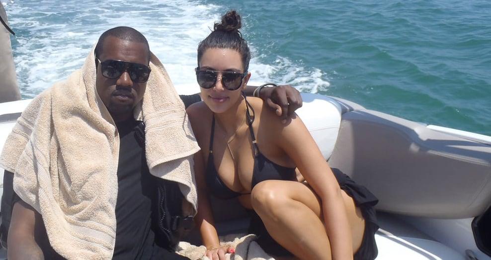 Kim and Kanye cuddled up on a boat.  Source: Casa Aramara