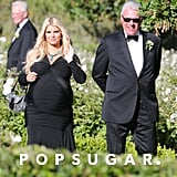 Pregnant Jessica Simpson smiled at a friend's wedding.