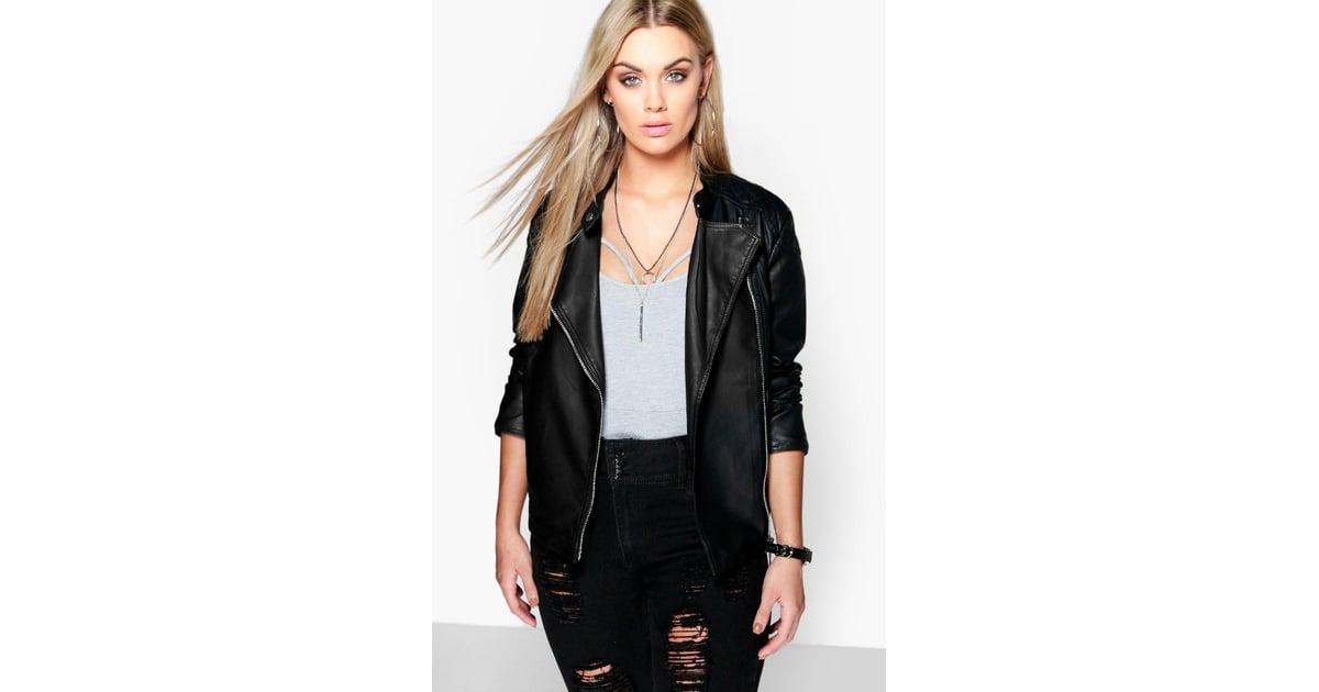 7fe5c5b4d415d Boohoo Plus Eliza Quilted Faux Leather Biker Jacket