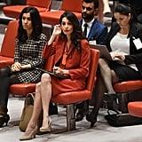 Amal Clooney Orange Bottega Veneta Suit