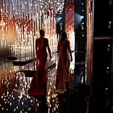 Charlize Theron and Emily Blunt's Silhouettes As They Took the Stage