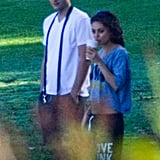 Mila Kunis and Ashton Kutcher took his dog for a walk around LA.