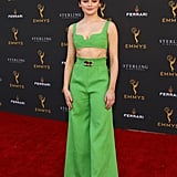 At an Emmys event wearing a neon green set.
