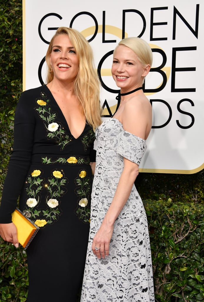 Despite not winning the best supporting actress award for her role in Manchester by the Sea, Michelle Williams still had luck on her side in the human form of her best friend Busy Philipps at the Golden Globes on Sunday night. The longtime friends hit the red carpet together, and Busy even helped Michelle fix her dainty choker as photographers snapped away. We last saw Busy and Michelle's friendship on display at the Critics' Choice Awards last month — where they were equally adorable and inseparable — and on Instagram when Busy shared a priceless photo of them in the '90s.       Related:                                                                                                           30+ Pictures That Prove Michelle Williams and Busy Philipps Will Stand the Test of Time