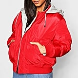 Boohoo Reversible Hooded Bomber Jacket