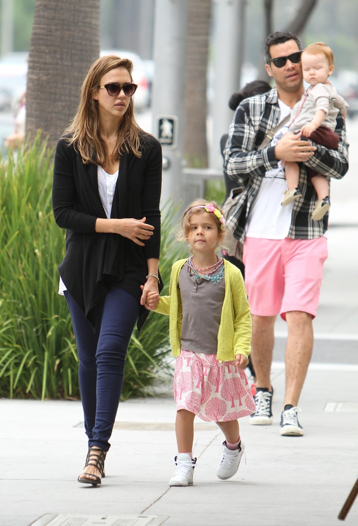 Jessica Alba and Cash Warren went to lunch in LA with daughters Haven and Honor.
