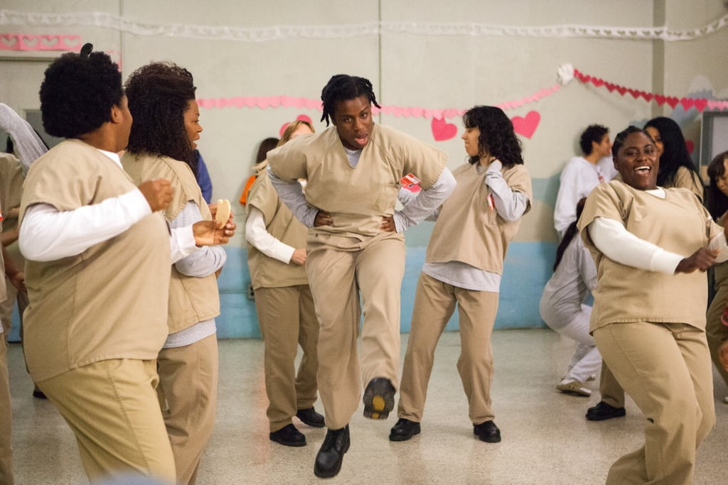 Crazy Eyes (Uzo Aduba) steals the show at the Valentine's Day dance. Source: Netflix
