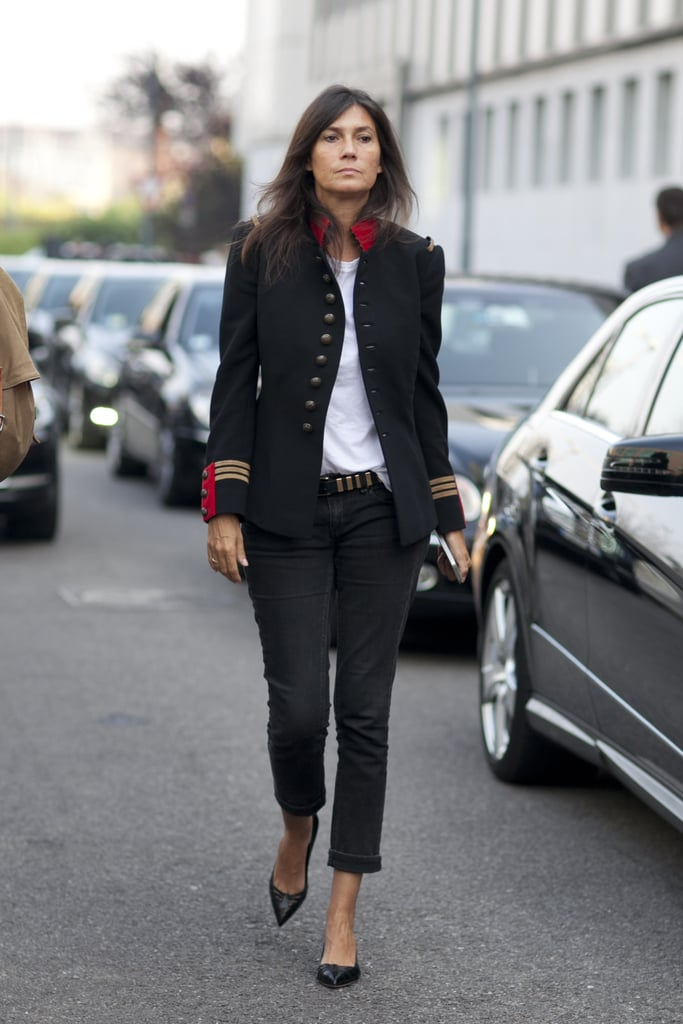 Emmanuelle Alt's military-inspired jacket made for the perfect standout piece.