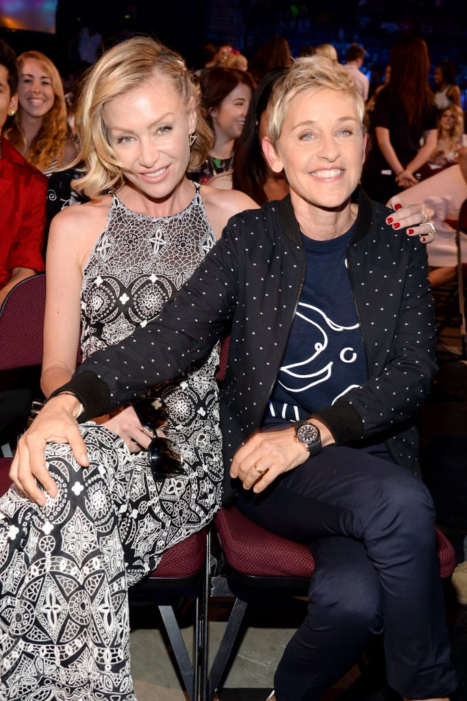 Ellen DeGeneres and Portia de Rossi were all smiles when they appeared together at the Teen Choice Awards in LA on Sunday. The cute couple was among the many celebrities on the red carpet at the USC Galen Center, and the event marked an extraspecial occasion for Ellen and Portia, whose seven-year wedding anniversary fell on the same day. Meanwhile, early in the show, Ellen took home the award for choice comedian. Keep reading for all the best pictures of Ellen DeGeneres and Portia de Rossi at the Teen Choice Awards, then see their cutest moments together!