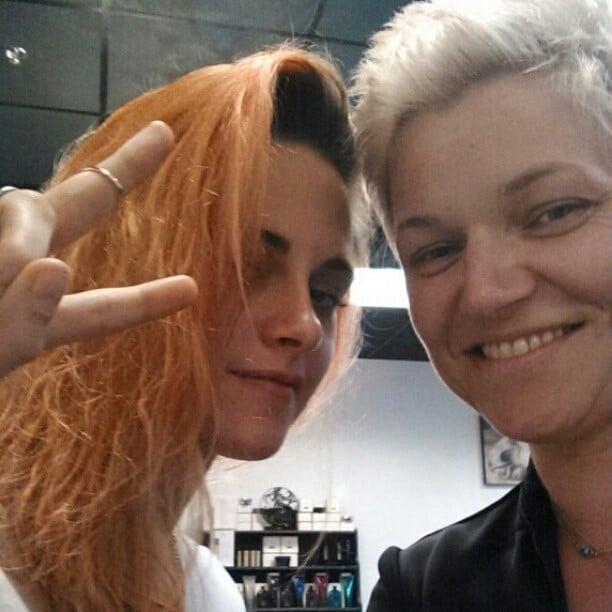 Kristen Stewart's Dyed Orange Hair on Instagram 2014