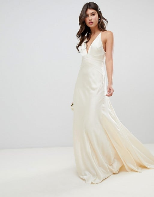 1830ed19e41 Asos Edition Satin Paneled Wedding Dress With Fishtail | Cheap ASOS ...