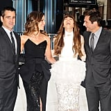 Colin Farrell, Kate Beckinale, Jessica Biel and Len Wiseman shared a laugh at the premiere of Total Recall.