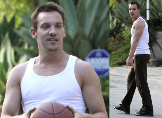 Photos Of Jonathan Rhys-Meyers Playing Basketball in Hollywood