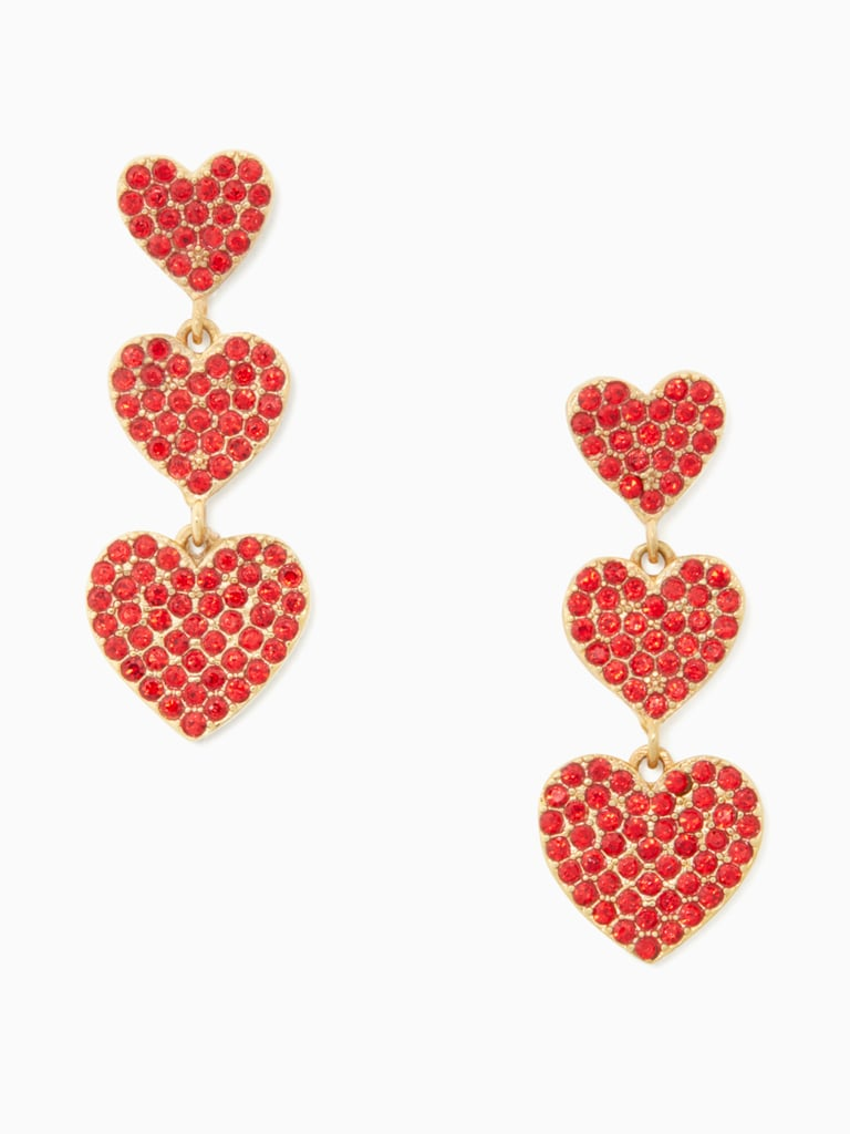 08060441808a4 Kate Spade Yours Truly Pave Heart Triple Drop Earrings