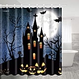 Halloween Pumpkin Lights Outside the Castle and Bats Shower Curtain