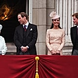The Royals on the balcony at Buckingham Palace: Kate and the Queen matched perfectly in similar pastel hues.