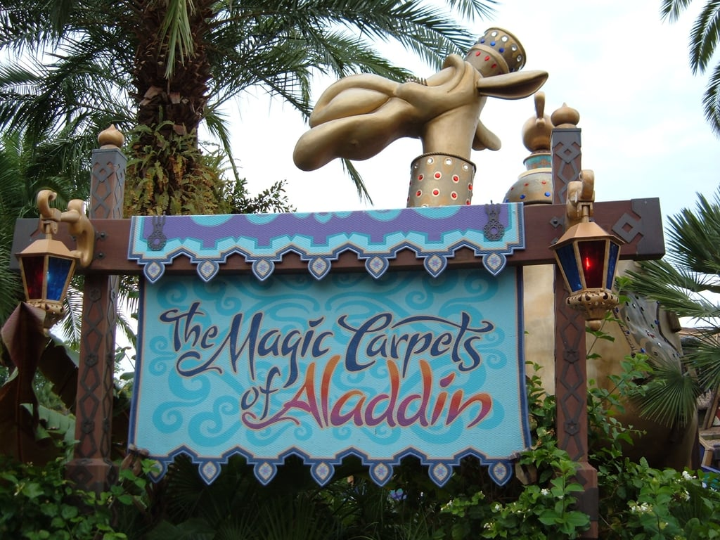 The camel outside the Magic Carpets of Aladdin ride actually spits on you.