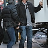 Christian Bale arrived in sneakers and changed into a suit.