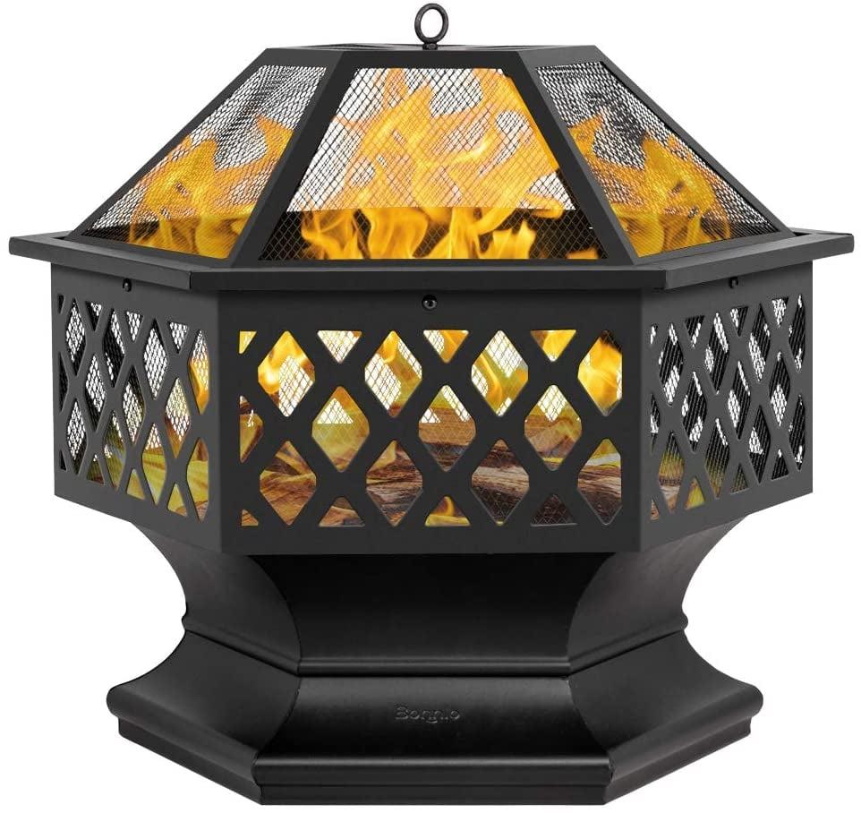 "Bonnlo 24"" Hex Shaped Metal Wood Burning Bonfire Pit"