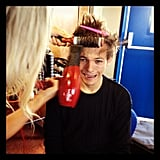 Harry Styles got his hair styled. Source: Instagram user harrystyles