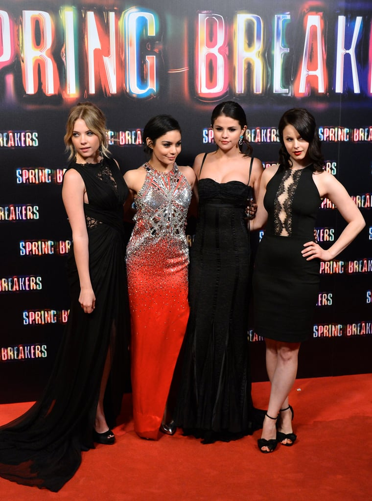 Selena Gomez and Vanessa Hudgens were joined by their Spring Breakers costars yesterday for another European premiere of their film, this time in Madrid. Selena donned a black Dolce & Gabbana gown while Vanessa went for a bright orange bejeweled frock. Their costar Ashley Benson followed Selena's lead in a black Tadashi Shoji dress while Rachel Korine wore a short number. Earlier in the day, Selena wore a neon yellow Blumarine ensemble and Vanessa put on a youthful white crop top by Katharine Kidd for the film's photocall. These looks are quite different from the avant-garde numbers that they all wore to the Berlin premiere of Spring Breakers earlier this week. The promotional tour for Spring Breakers isn't over just yet; the girls are all traveling to Rome for another premiere of their flick, which opens in the US on March 22.