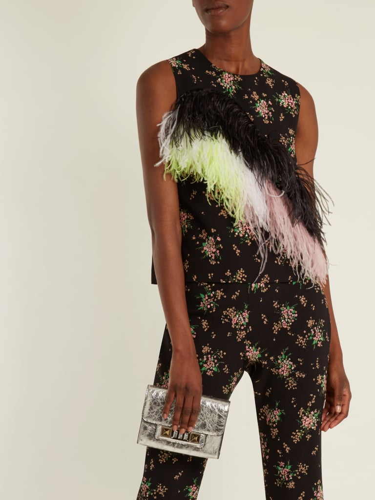 Crepe Floral Embellished Feather Top Print Msgm 4qTPIEwHwx