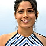 Freida Pinto smiled for the Desert Dancer photocall at the Cannes FIlm Festival.