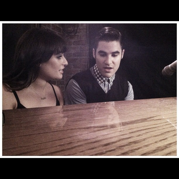 Lea and Darren Criss shared a cute moment at the piano on the set of Glee in September 2012. Source: Instagram user msleamichele