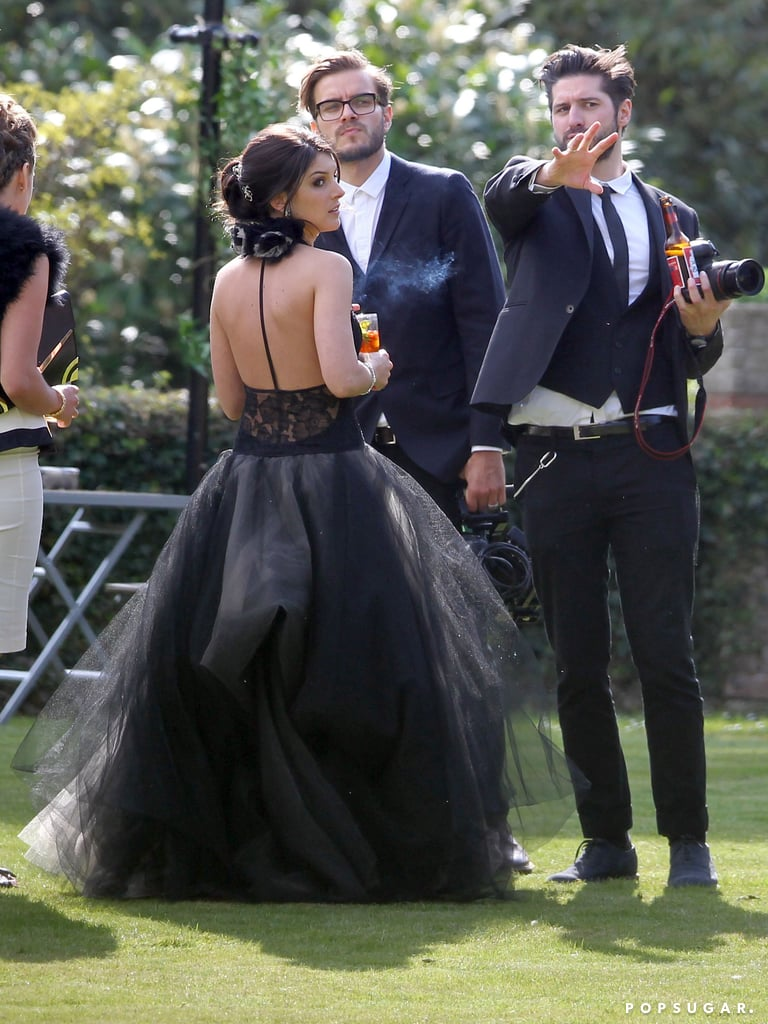 Shenae Grimes got married in a black Vera Wang wedding gown outside of London.