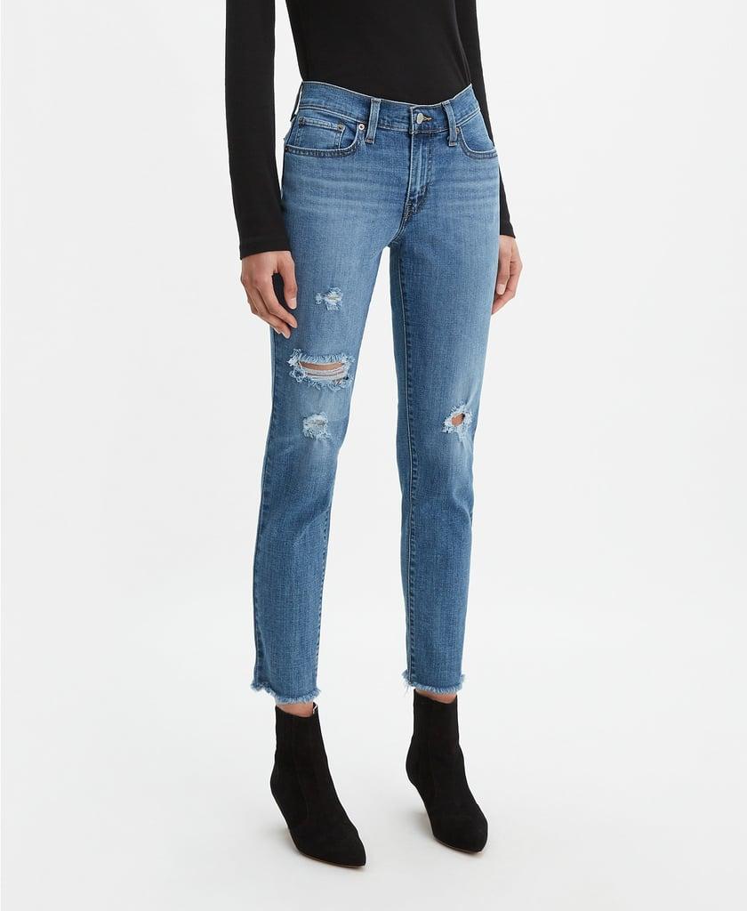 Levi's New Boyfriend Distressed Tapered-Leg Jeans