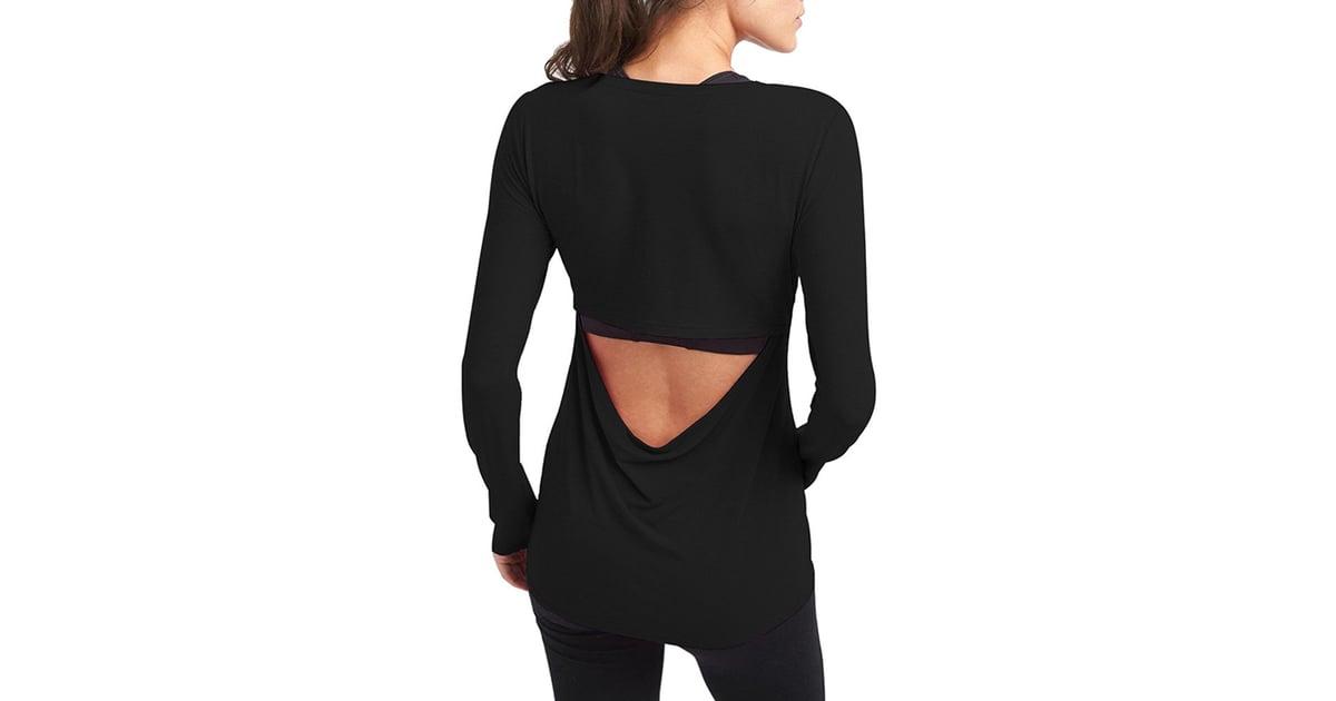 Mippo Women S Long Sleeve Backless Workout Shirt Open Back