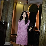 A pink tweed skirt and jacket set looked professional but still offered just the right punch of personality.