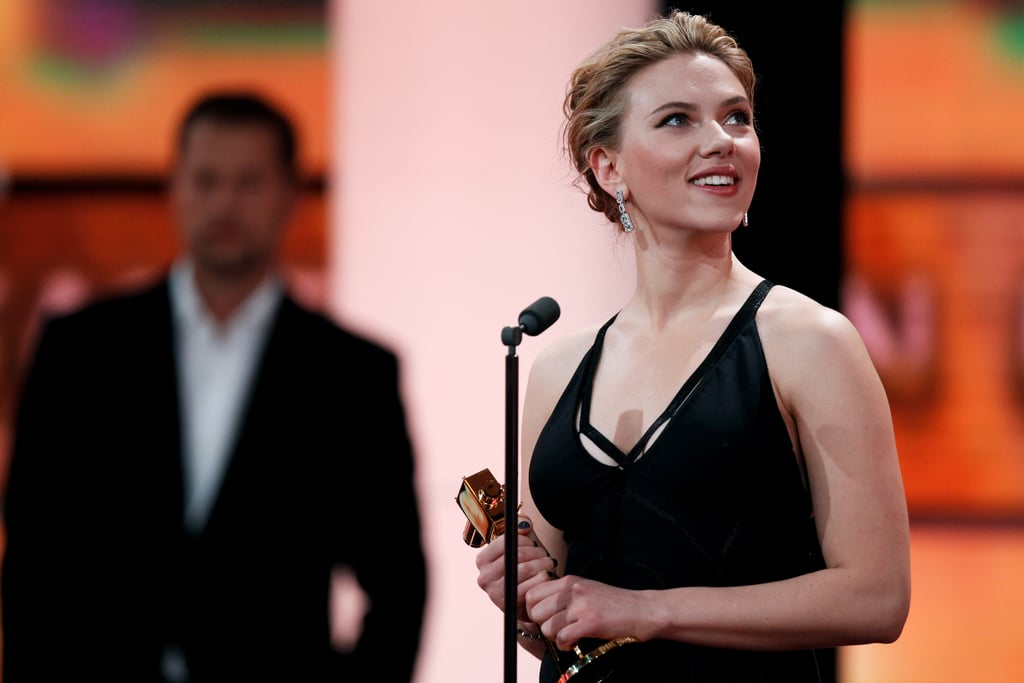 Scarlett Johansson accepted a prize at Berlin's Golden Camera awards.