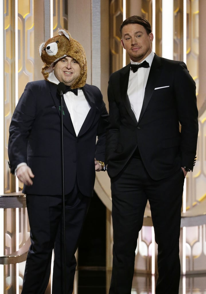 Jonah Hill and Channing Tatum presented together at the 2016 Golden Globes. Jonah dressed up as the bear from The Revenant . . . obviously.