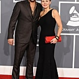 Country singer Jason Aldean poses with wife Jessica at the Grammys.
