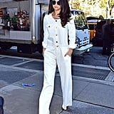 Fall staple: A white denim jumpsuit from Etoile Isabel Marant. Selena wore it with: Giuseppe Zanotti booties and Dior sunglasses in New York in October 2015.