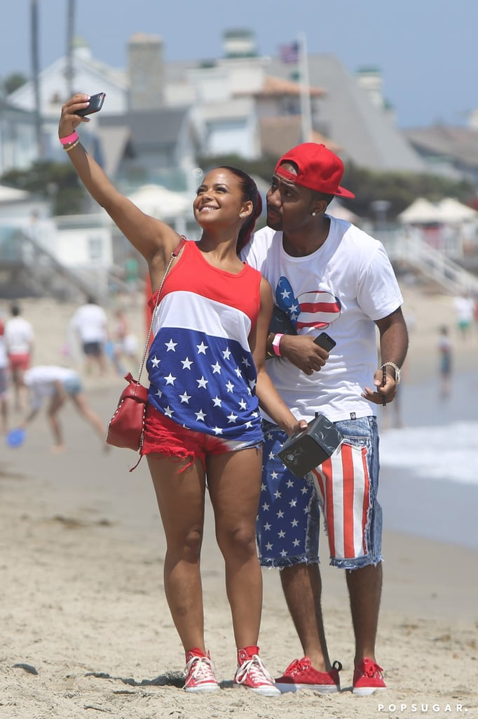 Christina Milian posed with a friend in July 2013 for a beach selfie.