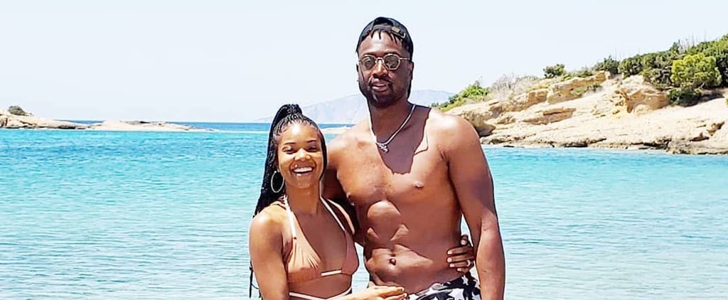 Gabrielle Union's Brown Solid & Striped Bikini in Greece