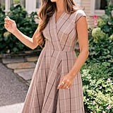 Gal Meets Glam Collection Eva Windowpane Check Faux Wrap Dress