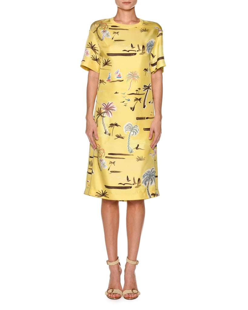 42d977034 Agnona Crewneck Short-Sleeve Palm-Tree Print Knit Dress | Michelle ...