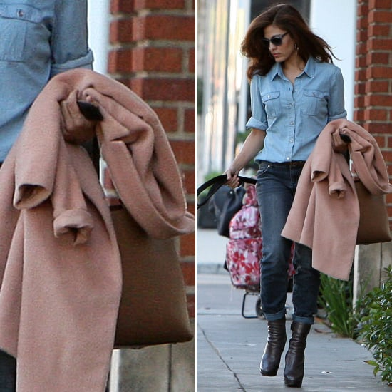Eva Mendes Denim on Denim With Pink Coat