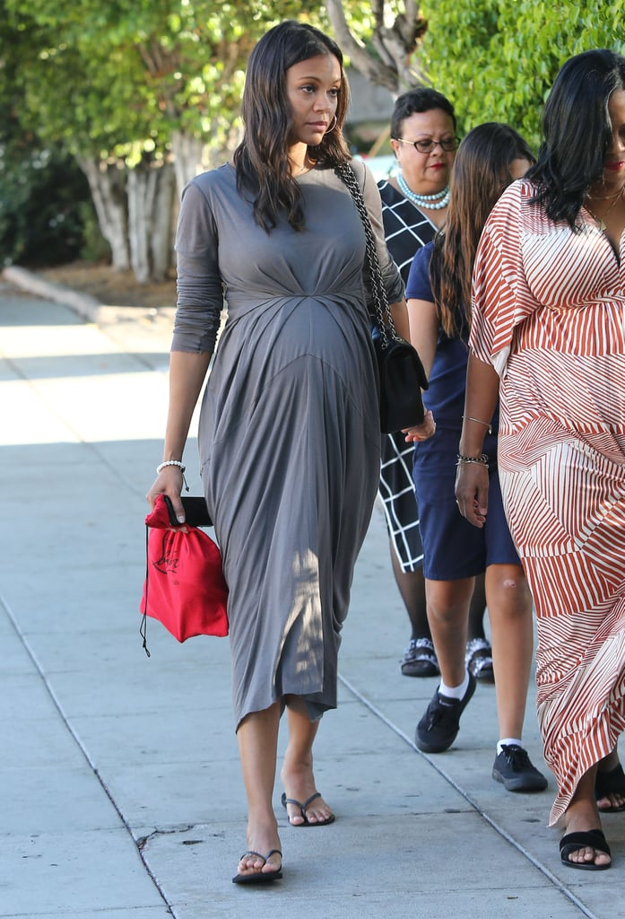 Zoe Saldana showed off her bump during a Wednesday outing with friends in LA.