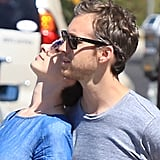 Anne Hathaway rested her head on Adam Shulman's shoulder.