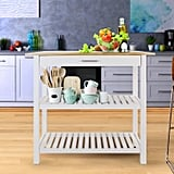 Casual Home Kitchen Island With Solid American-Hardwood Top