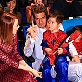 They posed with a pint-sized Spider-Man at a March 2014 fan event in Singapore.
